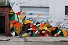 Junction geometric street art wall