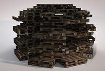 Arrays / virtual sculpture based on euro pallets