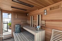 Outdoor modern style sauna with panorama