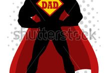 Superhero / Vector Cartoon Illustration of Superhero and Superheroine