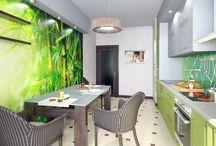 3к. кв на ул. Блинова, в МКР 1А, Солнечный. / Трехкомнатная общей площадью 82 метра в панельном доме с кухней 16 метров. Основной задачей дизайн студии было создание интерьера в стиле эклектика.