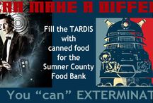 """Exterminate Hunger / """"Doctor Who"""" is the longest running BBC television show. His space and time machine is a TARDIS. We built a replica version to hold donations for the 'Exterminate Hunger' food drive ReStore participated in with the Gallatin Public Library."""