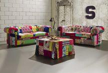 """Chesterfield Crazy , divani Chester in tessuto patchwork / Abbiamo pensato di creare questa linea di divani Chesterfield che andasse ad """"osare"""" in modo simpatico sulla linea di un divano estremamente tradizionale rendendolo adatto ad arredare loft, studi creativi e case moderne."""