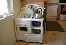 little kids kitchen made with a night stand.