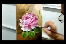 Rosas pintadas tecnica