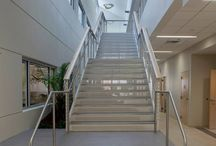 Jacksonville, Florida /  Ithaca Style cable railing and stainless steel ADA compliant graspable hand rails.  Glenn Dasher of Dasher Hurst approached us to fabricate the Ithaca Style cable railing for an interior staircase at the new Jacksonville University College of Health and Sciences building.