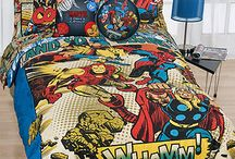 boys' room redo / Challenge: We need to upgrade to twin beds and plan a superhero theme. It's a small room and needs to fit two boys.