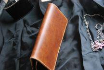 Biker travel wallet, veg tn leather, pistons