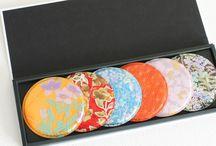 Kinsai - Japanese Gold-Leafing / Classy room & fashion accessories. Japanese Gold-Leafing developed with Kyo Yuzen Kimono fabric available @artezanatostudio.com.