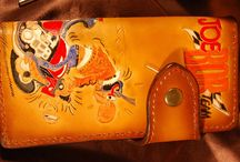 Long Wallet Joe Bar Team ,veg tanned leather wallet, handtooled and handpainted