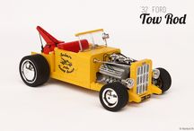"""'32 Ford """"Tow Rod"""" / Take a classic '32 Ford Hot Rod, paint the whole machine in bright yellow, add a crane on the back and you've got the weirdest Tow Rod ever created!"""
