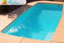 Modern Pools from Aloha Fiberglass Pools. / Modern Pool models from Aloha Fiberglass Pools.