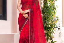 Khushrang / Buy the latest  chiffon, georgette designer printed saree  from Laxmipati Sarees.