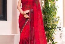 Khushrang / Buy the latest  chiffon, georgette designer printed saree  from Laxmipati Sarees.