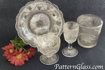 "Early American Pattern Glass / Early American Pattern Glass, also known as simply ""pattern glass"", or Victorian glass is pressed glass tableware (& some related novelty glass items) was made only during the Victorian period ca 1850-1910, only in America, and in ""sets"" such that all of the pieces in the set matched in design. / by Elaine Henderson"