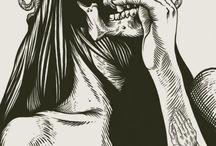 skulls blackwork