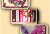 DIY iphone cases / Made of polish, paper and my old owl-jewerly.