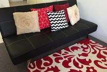 Living Room / Black, white, red themed living room for small space