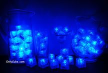 Blue LiteCubes 3 Mode Light Up Ice Cubes / Only the original LiteCubes brand! Our classic blue cubes feature 3 different modes! Fast flash, slow flash, and steady on. Clear shell with blue LEDs.
