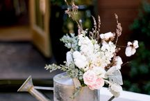 Maddie & Adam / June 2014 - Just picked, wildflowers, mismatched jugs, glasses, containers - neutral tones, shell pink, lavenders & creams
