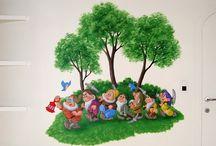 Muurschilderingen 7 dwergen / Leuk voor op de kinderkamer zijn wandschilderingen met de zeven dwergen