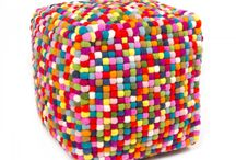 Felt Ball Ottoman Pouf / Felt ball ottoman pouf with fantastic range of colors and designs. They are all handmade in Nepal from a premium quality felted wool balls. It's a work of art and will look fabulous in any decor.  All our felt ball ottoman pouf are made from our standard size 2 cm felt balls.