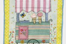 Embroidered free hand (applicazioni di stoffa e  cuciture a macchina senza trasporto )