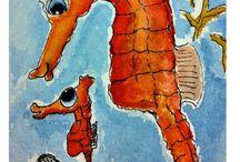 Ocean life watercolours