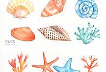 Watercolour sea
