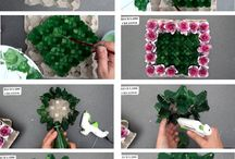 corona de flores en carton huevo