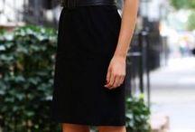 Black Pencil Skirt Stripped Top Pink Heels