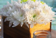 """ARTFLOWER: WHITE & GREEN / Composition of white and green flowers in """"Guanacaste"""" wood vases"""