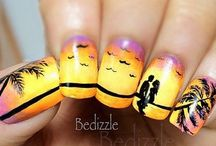 Beach and Summer Nails / Nail art with concept of beach and summer