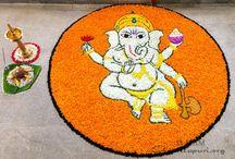 Pookkalam / Floral arrangement for Onam festival at Amritapuri, Sept 2016