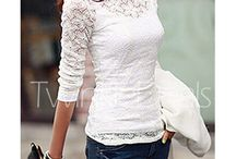 lace sleeved white top