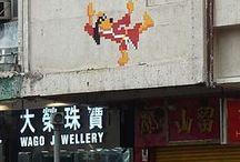 Hong Kong street art by Invader
