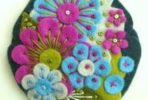 Felt colour flowers