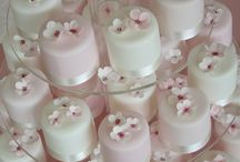 Wedding petit fours and cupcakes