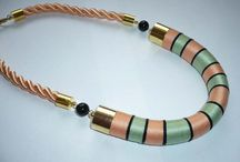 yarn and fiber wrapped necklaces / Some of these fiber wrapped necklaces were made by me... Hope you like them. :)