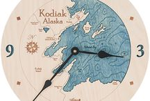 Alaska Clocks / 2 dimensional clocks made from one piece of wood.