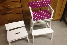 Ikea hack - two step stools to create a cute toddler chair and mini stool with the leftovers. Very creative!