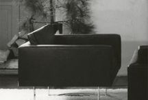 Bodil Kjaer, Sofa and armchairs / A sofa and two armchairs en suite. Manufactured by E. Pedersen & Søn, never produced again. Circa 1960.
