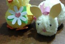 pasqua / Coniglietto e pulcino realizzati con la lana ciniglia
