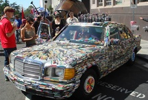 Art Car with Glued Objects / Art cars created by gluing all kinds of stuff to them