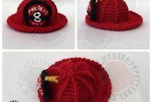 Crochet fireman hat