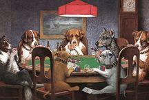 perros jugando cartas