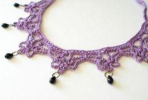 crochet necklace, bracelet, earrings ........