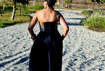Butterick 4443! Sweeping the Floor! / Denim & African Print Strapless Dress!