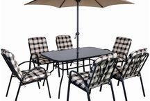 Metal Garden Furniture 6 Seater Large Dining Table Set Chairs Parasol Classic