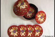 Coaster Set / Handicrafts, Handmade, Papier Mache